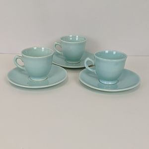 Vintage LuRay s/3 Green Demitasse Cups Saucers MCM